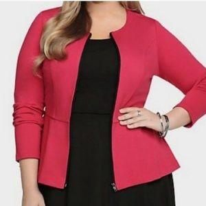 Torrid Red Peplum Zip Jacket Blazer